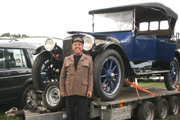 Roderic robinson in front of his newly restored Stanley Steam Car