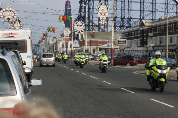 Massive police Escort. these are only a fraction of the number plus there were marshalls as well
