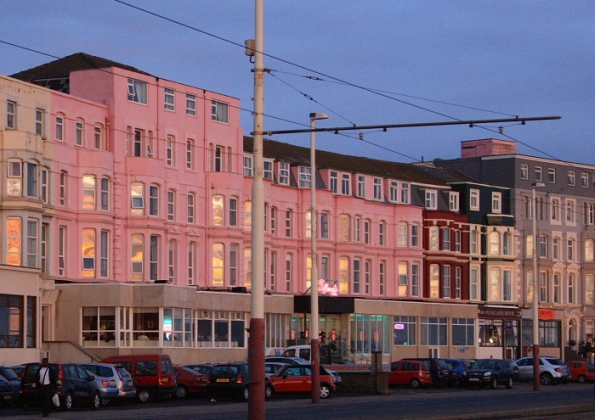 hotels on north Shore with the fading sun reflecting in the windows