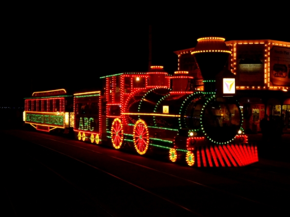 The recently refurbished 'Wild West Train Style' illuminated tram